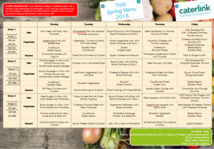 Image of the Spring 2018 school dinners menu. Click to download a .pdf